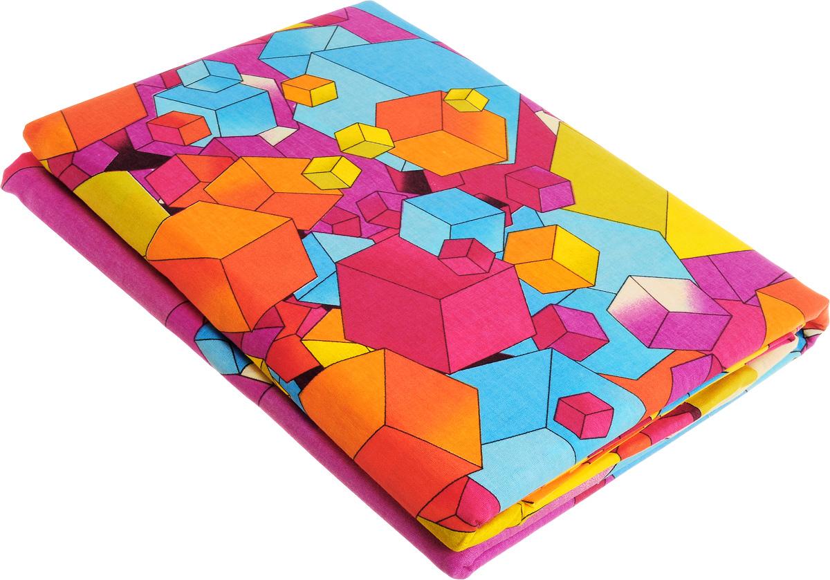 Комплект белья МарТекс Кубик-рубик, 1,5-спальный, наволочки 70х70, цвет: желтый, голубой, фиолетовый01-0498-1Комплект постельного белья МарТекс Кубик-рубик состоит из пододеяльника, простыни и двух наволочек и изготовлено из бязи. Постельное белье оформлено оригинальным ярким рисунком и имеет изысканный внешний вид. Бязь - вид ткани, произведенный из натурального хлопка. Бязевое белье выдерживает большое количество стирок. Благодаря натуральному хлопку, постельное белье приобретает способность пропускать воздух, давая возможность телу дышать. Приобретая комплект постельного белья МарТекс, вы можете быть уверенны в том, что покупка доставит вам и вашим близким удовольствие и подарит максимальный комфорт.