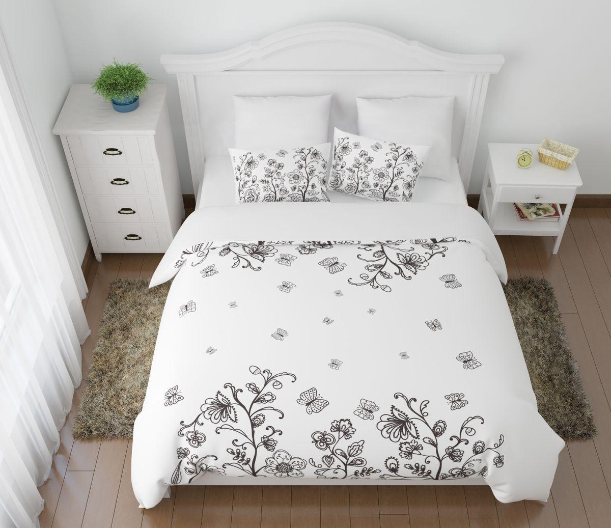 Комплект белья Сирень Танго цветов и бабочек, 1,5-спальный, наволочки 50x7004523-КПБ-МКомплект постельного белья Сирень выполнен из прочной и мягкой ткани. Четкий и стильный рисунок в сочетании с насыщенными красками делают комплект постельного белья неповторимой изюминкой любого интерьера. Постельное белье идеально подойдет для подарка. Идеальное соотношение смешенной ткани и гипоаллергенных красок это гарантия здорового, спокойного сна. Ткань хорошо впитывает влагу, надолго сохраняет яркость красок. Цвет простыни, пододеяльника, наволочки в комплектации может немного отличаться от представленного на фото. В комплект входят: простынь - 150х220см; пододельяник 145х210 см; наволочка - 50х70х2шт. Постельное белье легко стирать при 30-40 градусах, гладить при 150 градусах, не отбеливать.Рекомендуется перед первым изпользованием постирать.