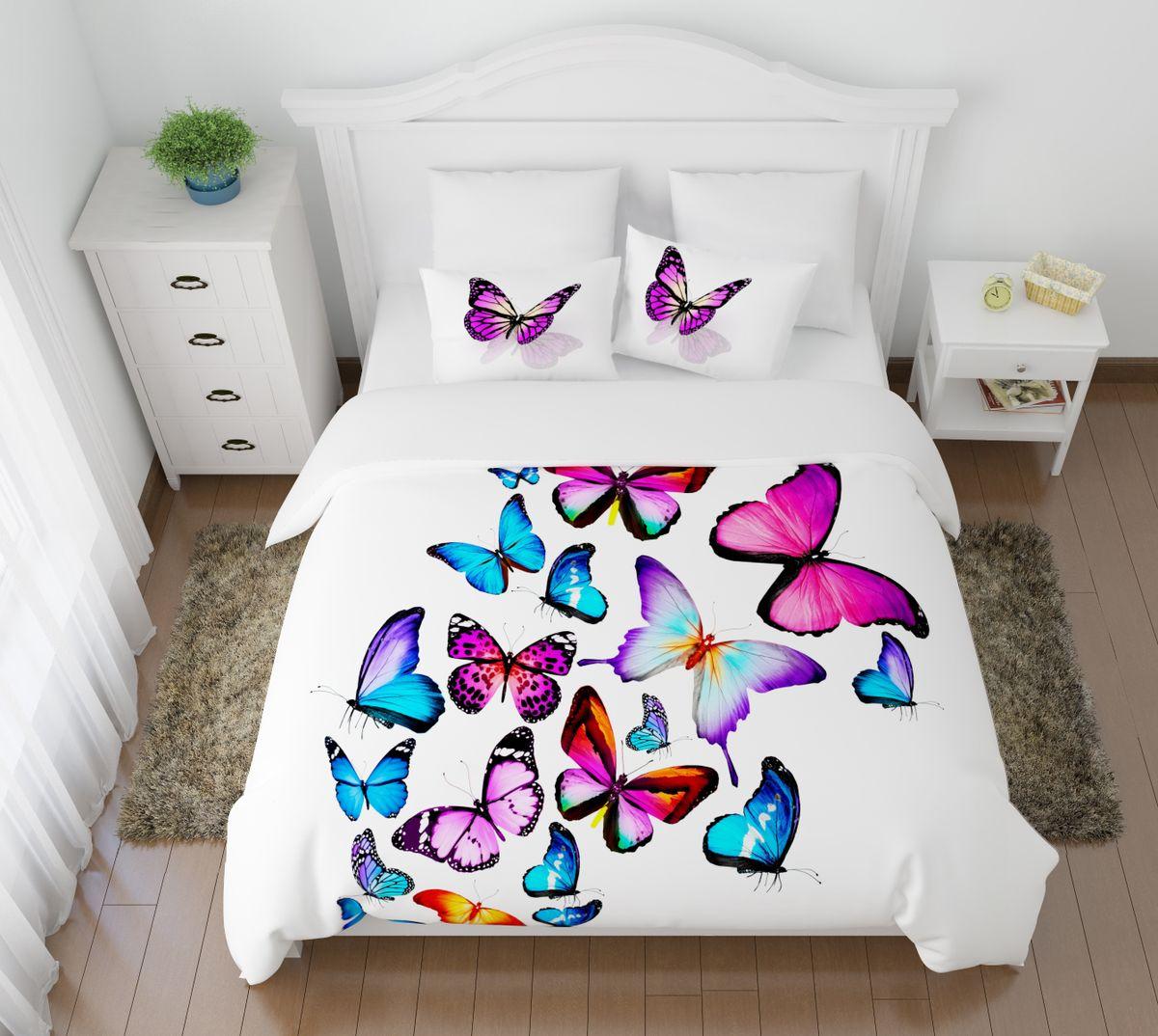 Комплект белья Сирень Яркие бабочки, 1,5-спальный, наволочки 50x7008447-КПБ-МКомплект постельного белья Сирень выполнен из прочной и мягкой ткани. Четкий и стильный рисунок в сочетании с насыщенными красками делают комплект постельного белья неповторимой изюминкой любого интерьера. Постельное белье идеально подойдет для подарка. Идеальное соотношение смешенной ткани и гипоаллергенных красок это гарантия здорового, спокойного сна. Ткань хорошо впитывает влагу, надолго сохраняет яркость красок. Цвет простыни, пододеяльника, наволочки в комплектации может немного отличаться от представленного на фото. В комплект входят: простынь - 150х220см; пододельяник 145х210 см; наволочка - 50х70х2шт. Постельное белье легко стирать при 30-40 градусах, гладить при 150 градусах, не отбеливать.Рекомендуется перед первым изпользованием постирать.