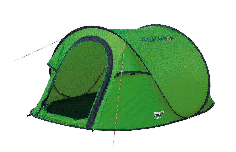 Палатка High Peak Vision 3, цвет: зеленый, 235 х 180 х 100 см. 1012310123Однослойная туристическая палатка с системой быстрой установки. Эта система позволяет установить палатку в считанные секунды. Каркас палатки произведен из прочного эластичного фибергласса. Палатка имеет четыре оттяжки, что достаточно для фиксации даже в ветреную погоду. Четыре вентиляционных окна позволяют хорошо проветривать палатку даже при закрытом входе. Материал тента имеет полиуретановое покрытие и водонепроницаемость не менее 1500 мм водяного столба. Это позволяет защититься от летнего дождя. Все швы проклеены термоусадочной лентой, гарантирующей, что влага не проникнет сквозь них. В палатке имеются внутренние карманы для различных мелочей. Длина 235 см, ширина 180 см и высота 100 см позволяют комфортно разместиться втроем. На входе окно с москитной сеткой. Дуги: Фиберглас 6 мм Тент: Полиэстер 190Т 2000 мм Дно: Полиэстер 3000 мм
