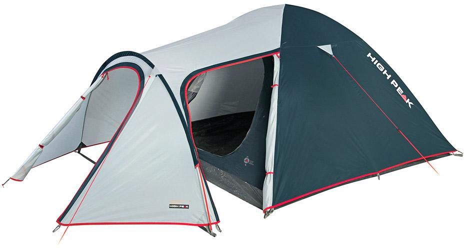Палатка High Peak Kira 3, цвет: светло-серый, темно-серый, 330 х 180 х 120 см. 1021310213Палатка Kira 3 High Peak - одна из самах комфортнах палаток для путешествий с большим количеством снаряжения или велосипедами. Выносная дуга формирует обширный тамбур для хранения любого снаряжения, в том числе и кухни. Отлично подойдет для семейного отдыха, сплавов и даже как замена кемпинговой палатке. Палатка легко устанавливается за 5-7 минут. Сначала устанавливается внутренняя палатка из паропроницаемого материала. Если погода жаркая, и дождя не предвидится, то можно спать без внешнего тента. Если надо защититься от ветра и дождя, накиньте внешний тент и проденьте третью дугу в рукав тента. Имеется два входа - центральный и боковой. Материал тента имеет полиуретановое покрытие и водонепроницаемость не менее 3000 мм водяного столба. Это позволяет защититься от сильного ветра и дождя. Все швы проклеены термоусадочной лентой, гарантировано защищающей от влаги. В комплекте идет пять сверхпрочных стальных 5мм колышка, которые не согнуться на твердой поверхности при установки палатки....