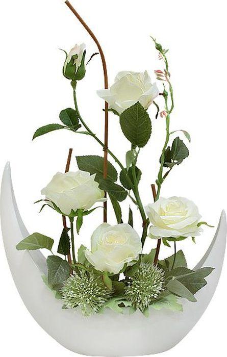 Цветы декоративные Dream Garden Розы белые, в керамической вазеDG-JA6086Композиции из искусственных цветов растений в оригинальных вазах и вазонах из керамики, стекла, металла - для декоративного оформления интерьеров квартир, домов, офисов, ресторанов, кафе, банкетных залов, номеров и холлов отелей, салонов красоты, фитнес-клубов…. Композиции не уступают красоте живых цветов, подчеркивают индивидуальность и создают цветочное настроение! Композиции из искусственных цветов долговечны, не требуют ежедневного ухода, выполнены из натуральных шелка и текстиля, прошедших специальную обработку высококачественными современными материалами. Искусственные цветы максимально приближены к натуральным, не пахнут, что исключает все аллергические реакции. Композиции из искусственных цветов – это прекрасный подарок в любой дом!