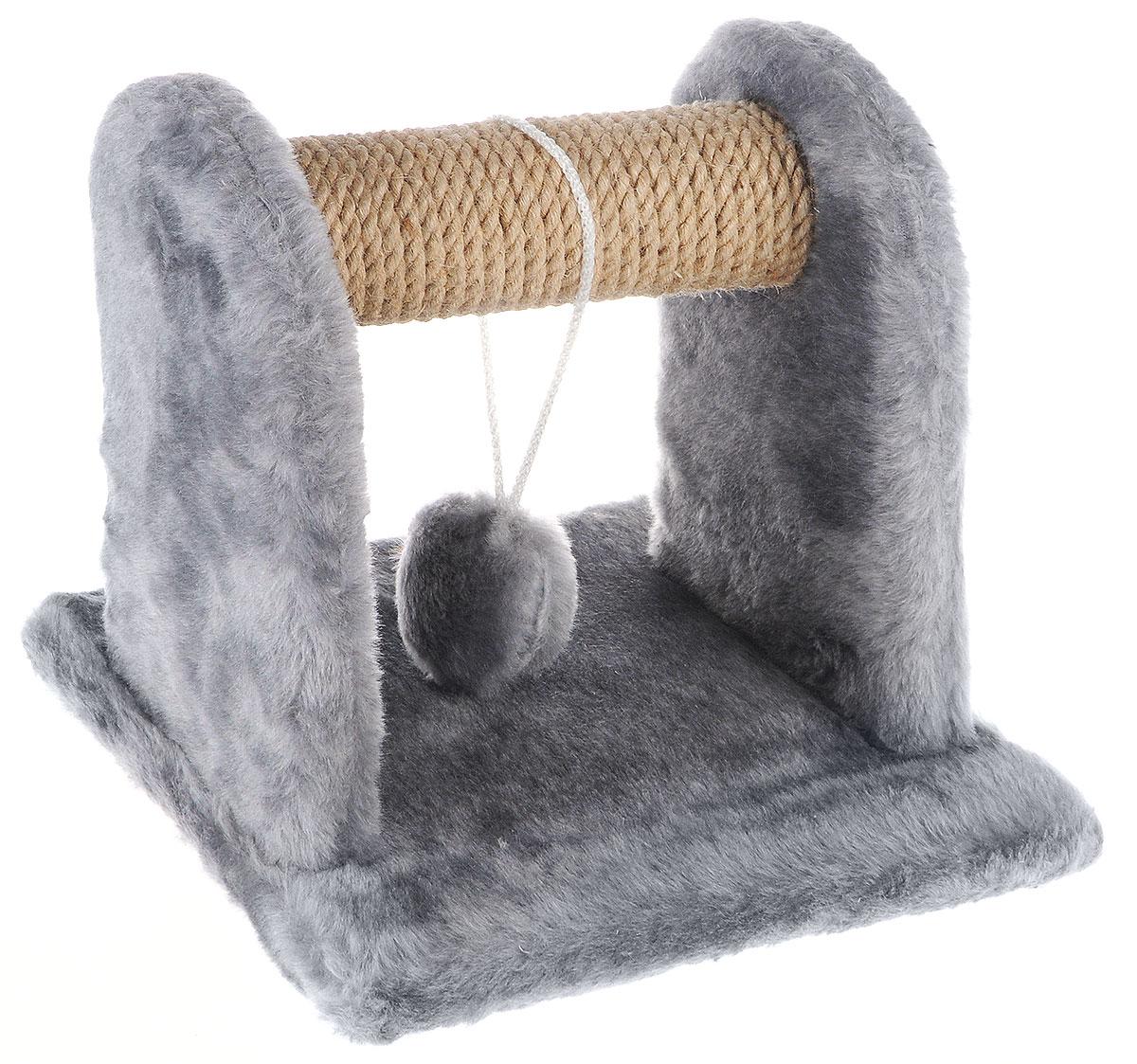 Когтеточка для котят Меридиан, с игрушкой, цвет: светло-серый, бежевый, 26 х 26 х 26 см0120710Когтеточка Меридиан предназначена для стачивания когтей вашего котенка и предотвращения их врастания. Она выполнена из ДВП, ДСП и обтянута искусственным мехом. Точатся когти о накладку из джута. Когтеточка оснащена подвесной игрушкой, привлекающей внимание котенка.Когтеточка позволяет сохранить неповрежденными мебель и другие предметы интерьера.