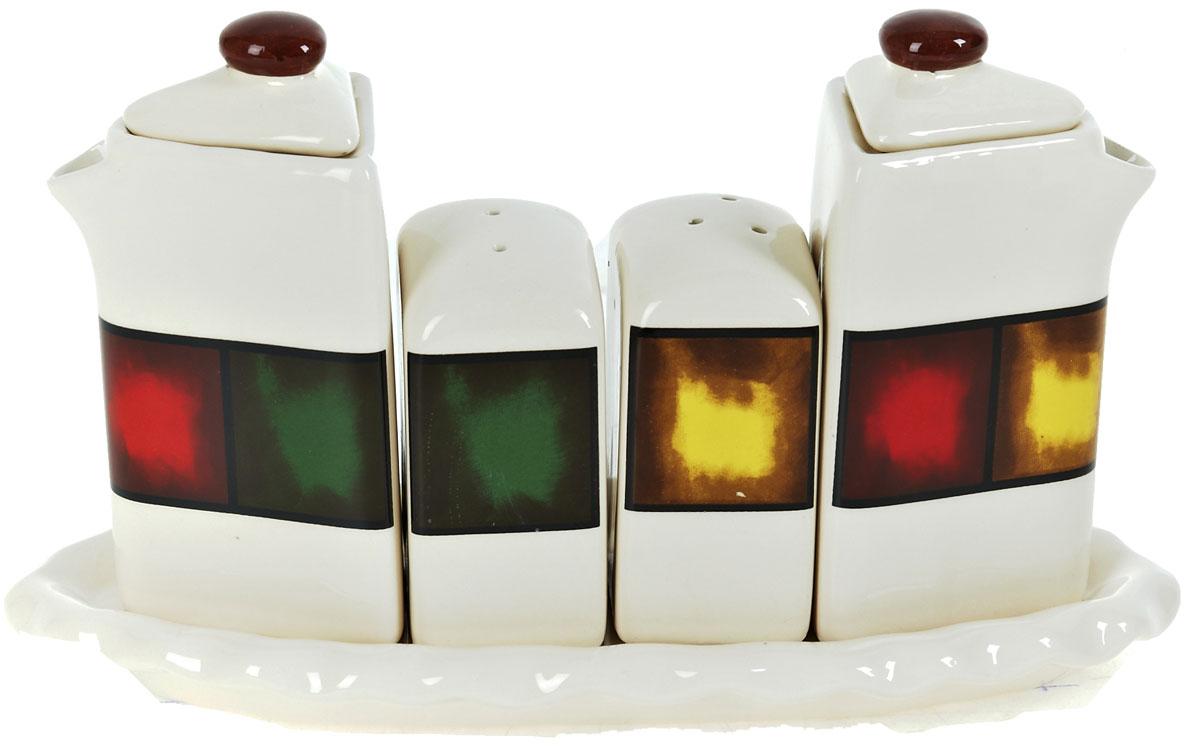 Набор для специй ENS Group Мармелад, 5 предметов0050015Набор для специй Мармелад выполнен из высококачественной керамики. Набор состоит из двух соусников, солонки, перечницы и подставки. Благодаря своим компактным размерам не займет много места на вашей кухне. Изделия декорированы ярким оригинальным орнаментом. Набор Мармелад станет отличным подарком каждой хозяйке.