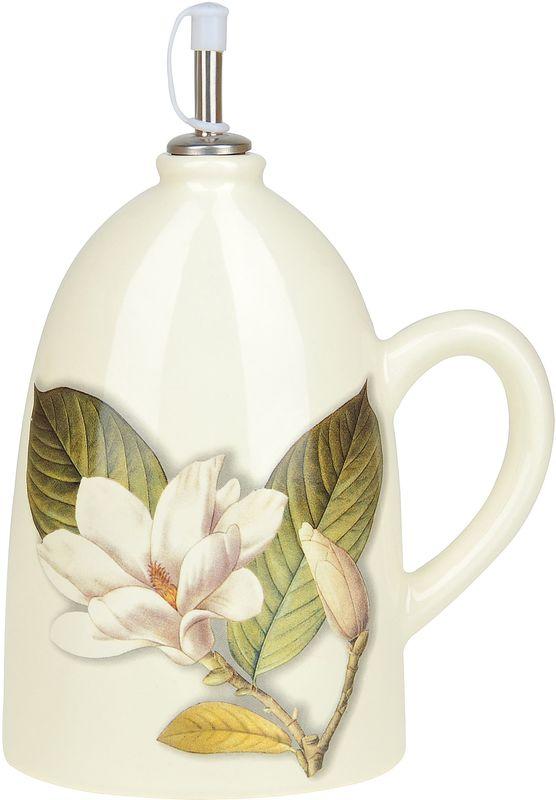 Бутылка под масло Танго Магнолия, 1,1 л0910008Бутылка под оливковое масло Танго Магнолия изготовлена из доломита. Изделие оформлено нежным изображением цветка. Бутылка предназначена для хранения подсолнечного или оливкового масла и уксуса. С помощью специального дозатора вы сможете легко добавить нужное количество жидкости.