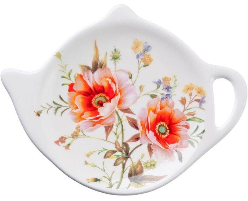 Подставка для чайных пакетиков Весна824730Подставка для чайных пакетиков Весна, изготовленная из высококачественной керамики, порадует вас оригинальностью и дизайном. Подставка выполнена в форме чайничка и оформлена цветочным рисунком. С помощью такой подставки ваша столешница останется чистой.