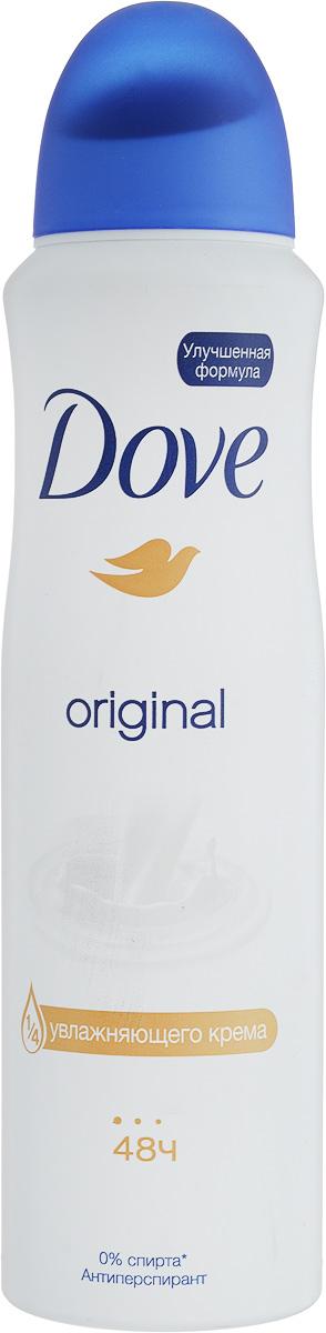 Dove Антиперспирант аэрозоль Оригинал 150 мл394028Антиперсипрант Dove Оригинал обеспечивает защиту от пота на 48 часов и на 1/4 состоит из особенного увлажняющего крема, который способствует восстановлению кожи после бритья, делая ее более гладкой и нежной.