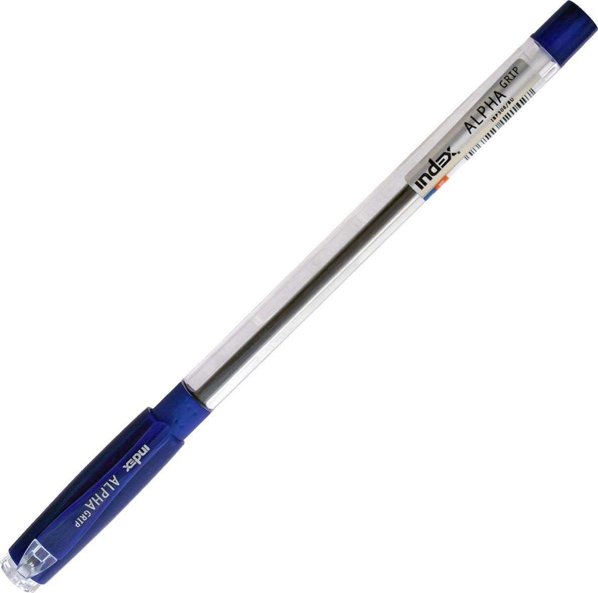 Index Ручка шариковая Alpha Grip цвет чернил синий72523WDПрозрачный корпус с резиновым упором под пальцы. Колпачок и наконечник в цвет чернил. Чернила на масляной основе. Толщина линии - 0,5 мм. Диаметр шарика - 0,7 мм. Цвет чернил - синий. В пакете с европодвесом