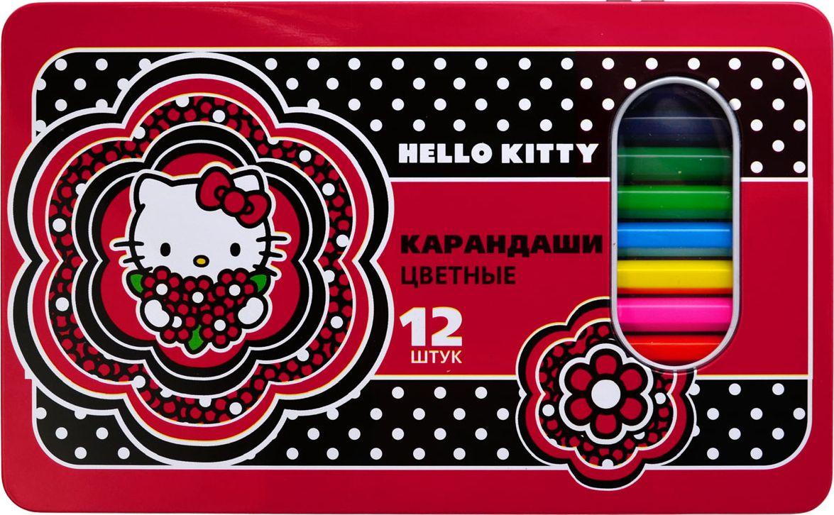 Action! Набор цветных карандашей Hello Kitty 12 цветовHKO-ACP305-12Шестигранный корпус. Улучшенный грифель. 12 цветов. В металлической упаковке