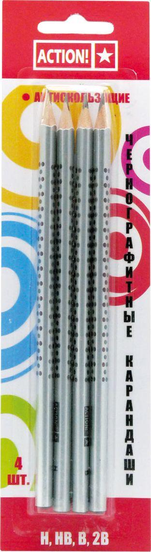Action! Набор чернографитных карандашей антискользящих 4 штPP-001Трехгранный корпус, противоскользящая поверхность. Заточенный. Твердость: H, HB, B, 2B. В блистере с европодвесом 4 штуки