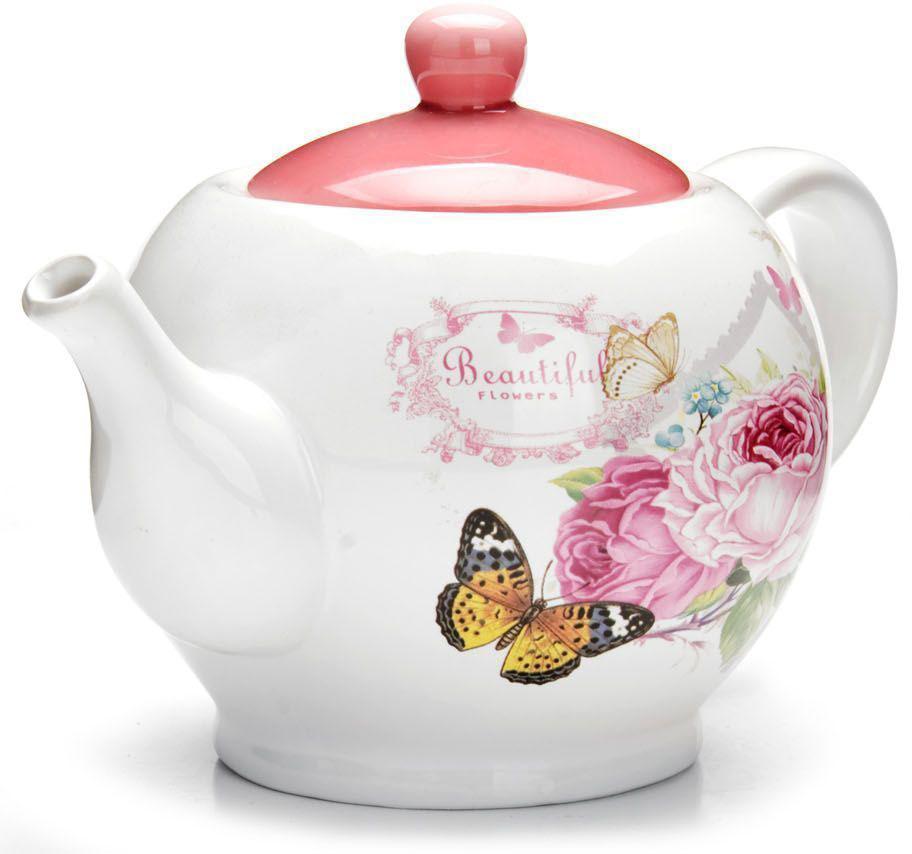 Заварочный чайник Loraine Батерфляй, с крышкой, 950 мл. 2631326313Заварочный чайник с крышкой Loraine поможет вам в приготовлении вкусного и ароматного чая, а также станет украшением вашей кухни. Он изготовлен из доломитовой керамики в розовых тонах и оформлен красочным цветочным изображением. Нежный рисунок придает чайнику особый шарм, чайник удобен в использовании и понравится каждому. Такой заварочный чайник станет приятным и практичным подарком на любой праздник. Подходит для мытья в посудомоечной машине.