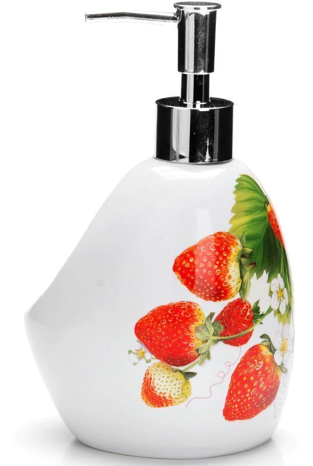 Дозатор для мыла Loraine Клубника, 400 мл. 2635026350Дозатор Loraine для жидкого мыла выполнен из прочного доломита высокого качества. За изделием очень легко ухаживать, для этого достаточно просто периодически промывать его водой. Диспенсер может служить как самостоятельным предметом в вашей ванной комнате, так и дополнительным аксессуаром на кухне. Рекомендовано мыть руками.