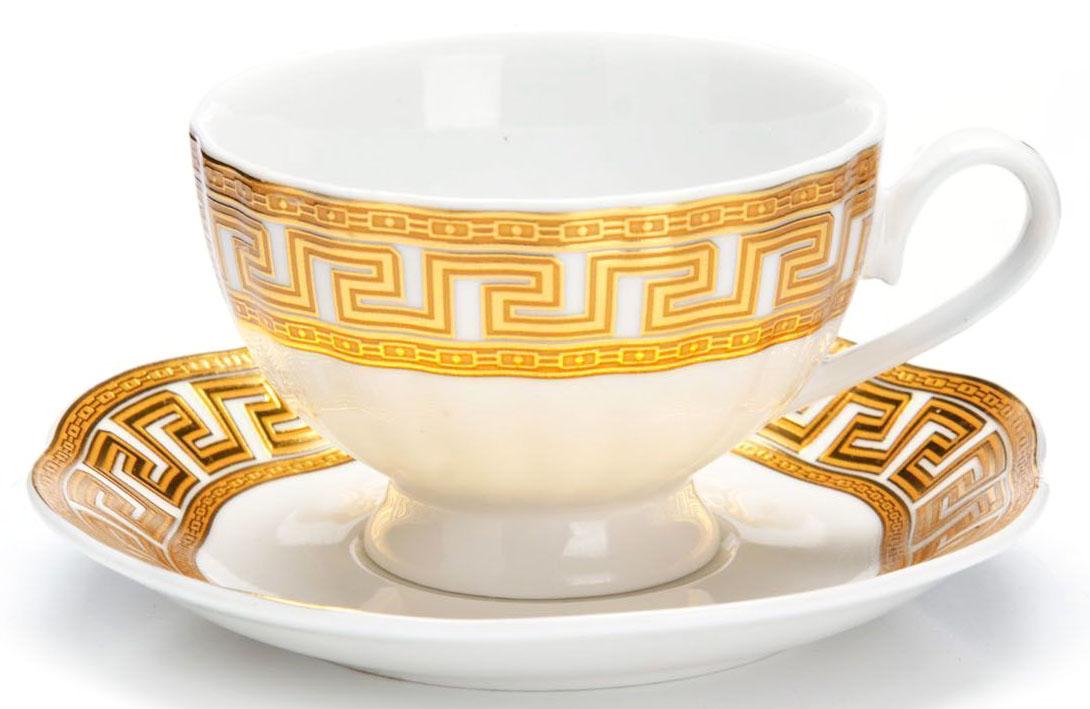Кофейный сервиз Loraine, 110 мл, подарочная упаковка. 2644326443Кофейный сервиз Loraine на 6 персон выполнен из высококачественной керамики белого цвета и украшен широким золотым орнаментом в греческом стиле. Изящный дизайн придется по вкусу и ценителям классики, и тем, кто предпочитает утонченность и изысканность. Набор упакован в подарочную коробку. Каждый предмет надежно зафиксирован внутри коробки благодаря специальным выемкам. Кофейный набор - идеальный и необходимый подарок для вашего дома и для ваших друзей в праздники, юбилеи и торжества! Также он станет отличным корпоративным подарком и украшением любой кухни. В наборе: 6 кофейных чашек, 6 блюдец.
