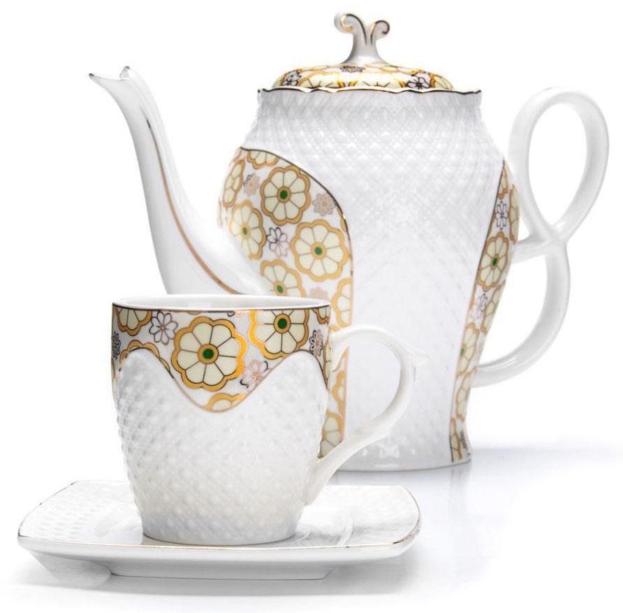 Чайный сервиз Loraine, 13 предметов (220 мл + чайник 1,3 л). 2683626836Чайный набор Loraine на 6 персон, изготовленный из высококачественной керамики изысканного белого цвета, состоит из 6 чашек, 6 блюдец и 1-го чайника. Изделия набора украшены тонкой золотой каймой и имеют красивый и нежный дизайн. Набор придется по вкусу и ценителям классики, и тем, кто предпочитает утонченность и изысканность. Он настроит на позитивный лад и подарит хорошее настроение с самого утра. Набор упакован в подарочную упаковку. Такой чайный набор станет прекрасным украшением стола, а процесс чаепития превратится в одно удовольствие! Это замечательный выбор для подарка родным и друзьям!