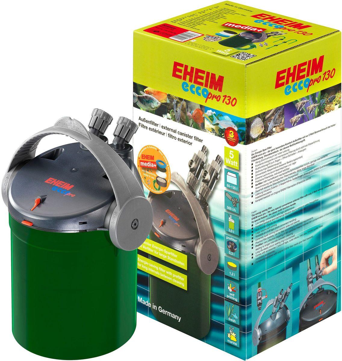Фильтр внешний Eheim Eccopro 1300120710Проста в использовании и очень низкое энергопотребление. Оснащен контрольными и запорными клапанами, корзинами для наполнителей, предварительным фильтром и технологией автоматического всасывания, управляемой многофункциональным переключателем.