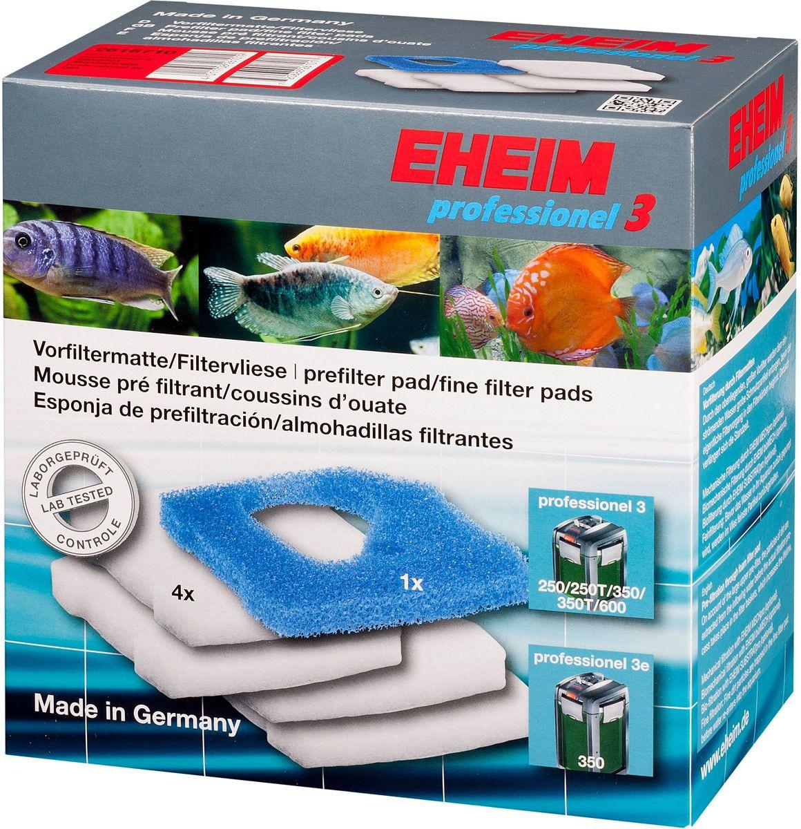 Наполнитель для фильтра Eheim Professionel 3 250/350/600, 5 шт2616710Набор фильтрующих губок для фильтра PROFESSIONEL 3.. В набор входят: 1 губка из поролона для префильтра и 4 синтепоновые губки тонкой очистки.