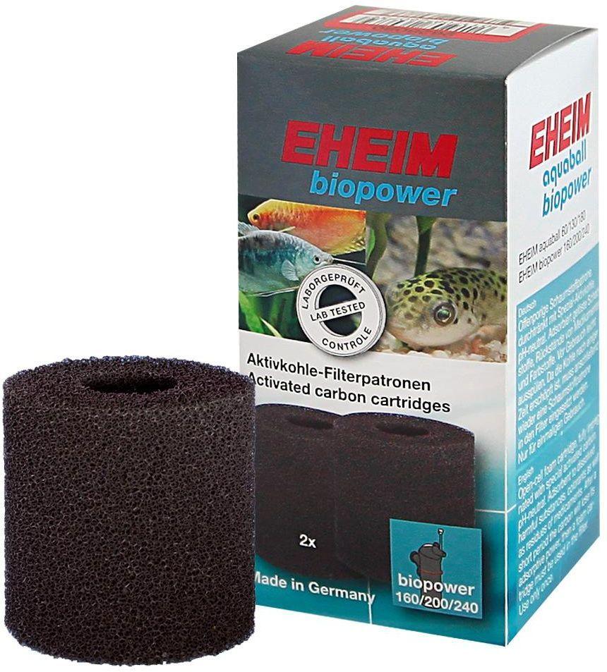 Картридж для фильтра Eheim Aquaball Biopower, угольный, 2 шт0120710Картридж из пористой губки с активированным углем для фильтров AQUABALL 60/130/180 и BIOPOWER 160/200/240 применяется при запуске аквариума или после медикаментозного лечения