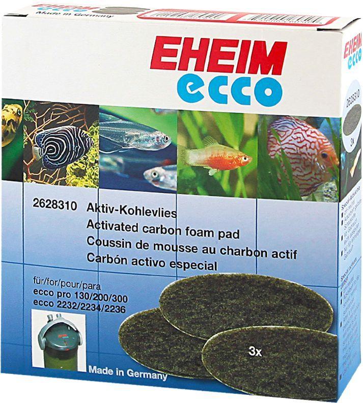 Наполнитель для фильтра Eheim Eccopro 130/200/300, угольный, 3 шт0120710Губка пористая с активированным углем для фильтров ECCOPRO применяется при запуске аквариума или после медикаментозного лечения. Эффективно удаляет вредные вещества-хлор, остатки лекарств.