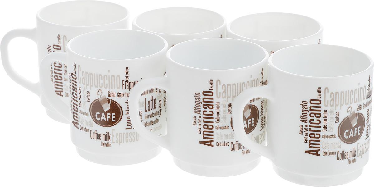 Набор кружек Luminarc Coffeepedia, 290 мл, 6 штL7713Набор Luminarc Coffeepedia состоит из шести кружек. Предметы набора изготовлены из высококачественного стекла и обладают высокой степенью прочности, устойчивостью к царапинам и резким перепадам температур. Кружки оформлены оригинальными надписями в кофейной тематике. Чайный набор яркого и лаконичного дизайна, украсит интерьер кухни и сделает ежедневное чаепитие настоящим праздником. Можно использовать в микроволновой печи, и мыть в посудомоечной машине. Бренд Luminarc - это один из лидеров мирового рынка по производству посуды и товаров для дома. В основе процесса изготовления лежит высококачественное сырье, а также строгий контроль качества. Товары для дома Luminarc уважают и ценят во всем мире, а многие эксперты считают данного производителя эталоном совершенства. Объем чашек: 290 мл. Диаметр чашек (по верхнему краю): 7,8 см. Высота чашек: 8,5 см.