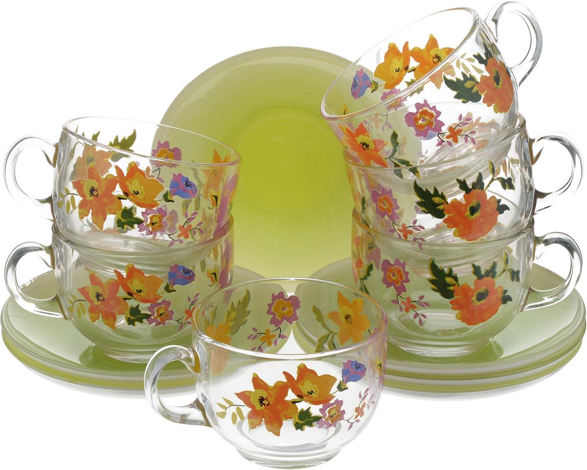 Набор чайный Luminarc Marisa Green, 12 предметовJ7599Чайный набор Luminarc Marisa Green состоит из шести чашек и шести блюдец. Предметы набора изготовлены из высококачественного стекла и обладают высокой степенью прочности, устойчивостью к царапинам и резким перепадам температур. Чайный набор яркого и лаконичного дизайна, украсит интерьер кухни и сделает ежедневное чаепитие настоящим праздником. Можно использовать в микроволновой печи, и мыть в посудомоечной машине. Бренд Luminarc - это один из лидеров мирового рынка по производству посуды и товаров для дома. В основе процесса изготовления лежит высококачественное сырье, а также строгий контроль качества. Товары для дома Luminarc уважают и ценят во всем мире, а многие эксперты считают данного производителя эталоном совершенства. Объем чашек: 220 мл. Диаметр чашек (по верхнему краю): 8 см. Высота чашек: 6 см. Диаметр блюдец: 13,5 см.