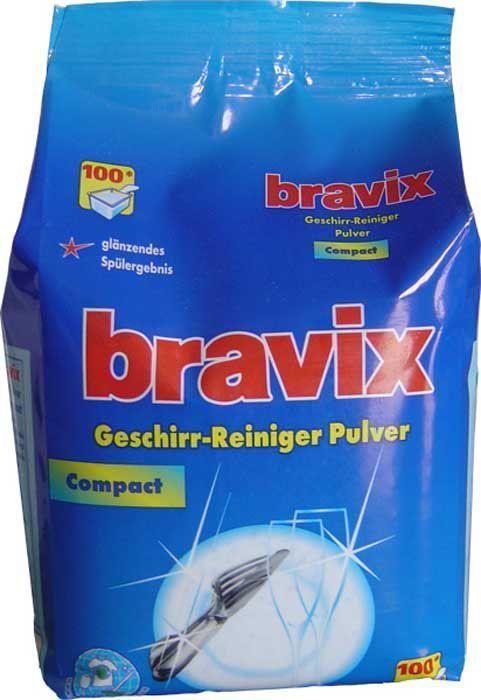 Порошок для мытья посуды Bravix, для посудомоечных машин, 100 моек, без фосфатов, концентрат, 1,8 кг1518Специальное суперэффективное средство для мытья посуды в посудомоечных машинах без хлора и фосфатов. Порошок для посудомоечных машин Bravix обеспечивает кристальную чистоту посуды, специальные компоненты на основе кислорода расщепляют остатки пищи, удаляют застарелые пятна. Порошок для посудомоечных машин Бравикс моет до блеска даже в жесткой воде, пригоден для всех типов ПММ. Применение: для ПММ вместимостью 10-12 персон засыпать в отсек для моющего средства 18 г порошка. Состав: менее 5% неанионные тензиды, поликарбоксилат, 5-15% кислородный отбеливатель