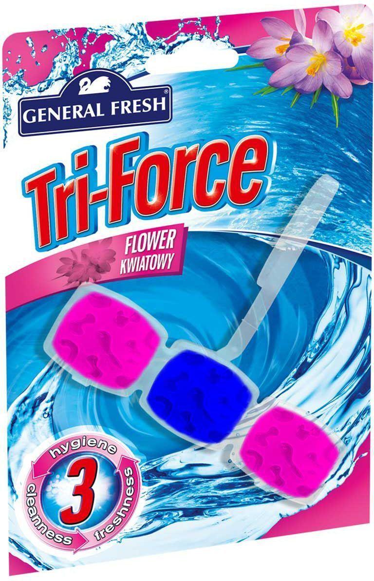 Подвеска General Fresh Тройная сила. Kostka WC Tri-Force, для очистки и ароматизации туалета, 1 шт. 517001517001высокоэффективная инновационная формула освежителя для унитазов Tri-Force обеспечивает идеальную чистоту и свежесть. Тройная сила ингредиентов создает обильную, густую пену, которая убивает микробы надолго и обеспечивает наибольший чистящий эффект.