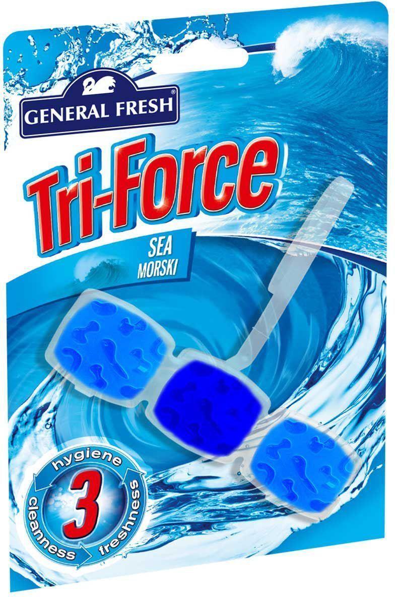 Подвеска General Fresh Тройная сила. Kostka WC Tri-Force, для очистки и ароматизации туалета, 1 шт. 517003517003высокоэффективная инновационная формула освежителя для унитазов Tri-Force обеспечивает идеальную чистоту и свежесть. Тройная сила ингредиентов создает обильную, густую пену, которая убивает микробы надолго и обеспечивает наибольший чистящий эффект.