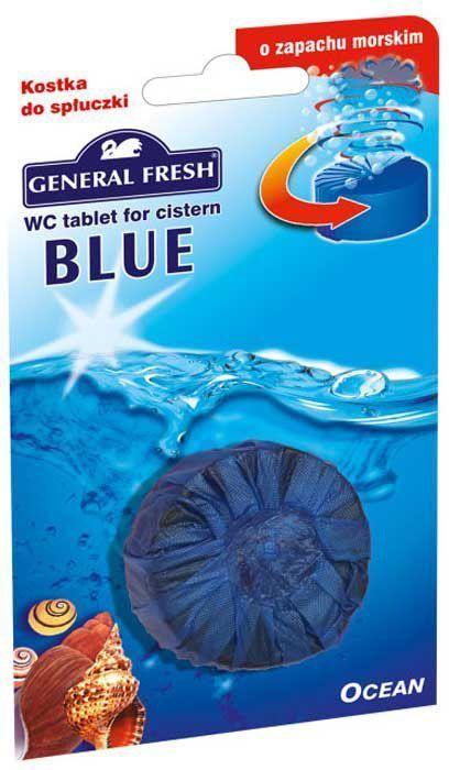 Очиститель-освежитель General Fresh WC. Blue, для смывного бачка, таблетка, 1 шт. 541000541000Без особых хлопот обеспечит гигиеническую чистоту, и свежесть вашего туалета в течение длительного времени. Тройного действия. 1. Очищает поверхность унитаза, предотвращая образование известкового налета. 2. Уничтожает бактерии даже в труднодоступных местах. 3. Создает обильную пену и стойкий свежий аромат при каждом сливе воды