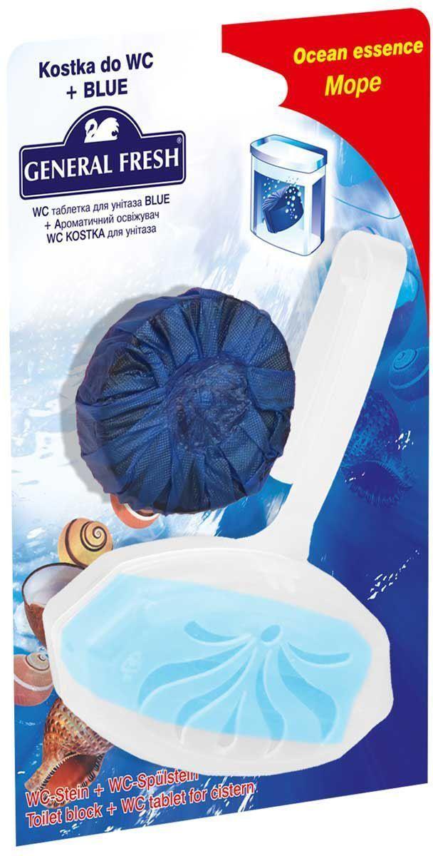 Подвеска для очистки и ароматизации туалета General Fresh WC Kostka, + WC таблетка Blue, 1 шт. 57020068/5/3Очищают поверхность унитаза, предотвращая образование известкового налета. Уничтожают бактерии даже в труднодоступных местах. Создают обильную пену и стойкий свежий аромат при каждом сливе воды.