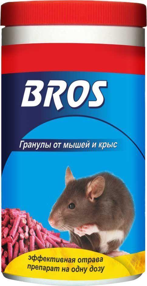Гранулы от крыс и мышей BROS, банка с дозатором, 250 г700141BROS Гранулы от крыс и мышей (банка с дозатором). Высокую эффективность препарата обеспечивают: 1-пищевая привлекательность для грызунов 2-замедленное действие, 4 - 5 дней после подачи, приводит к тому, что грызуны не ассоциируют отраву с гибелью других особей. 3-Примененные мумифицирующие вещества замедляют разложение мертвых особей. 250 гр. Приманка в виде гранул для борьбы с серыми крысами и домовыми мышами. Высокая эффективность препарата связана с привлекательностью запаха и вкуса приманки для грызунов; медленным действием препарата, проявляющимся в течение 4-5 дней с момента применения средства, гарантирующим то, что грызуны не связывают гибель сородичей с потреблением отравы. Средство имеет бальзамирующие свойства и содержит вещество, предотвращающее случайное проглатывание людьми и домашними животными. Применение: Средство в виде готовой приманки, независимо от вида грызунов, поместить по 10 - 20 г в сухих местах в небольшие емкости (лотки, коробки,...