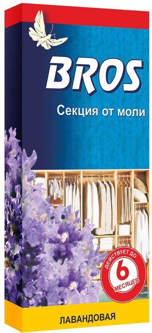 Секция от моли BROS, с запахом лаванды, 1 шт.706870BROS Секция от моли с запахом лаванды для применения в гардеробах, шкафах и ящиках. Эффективно защищает от моли (до 6 месяцев). Придает одежде приятный и свежий запах. Картонная пластина, пропитанная инсектицидным раствором, с запахом лаванды. Назначение: для защиты шерсти, меха и изделий из них, от повреждения молью и ее личинками в быту. Применение: Достать средство из упаковки. Разместить секцию в шкафу, гардеробе, ящике. Одна пластина защищает шкаф объемом до 1 м3 в течении 6 месяцев. Состав: эмпентрин 250 мг/шт., функциональные и технологические компоненты.