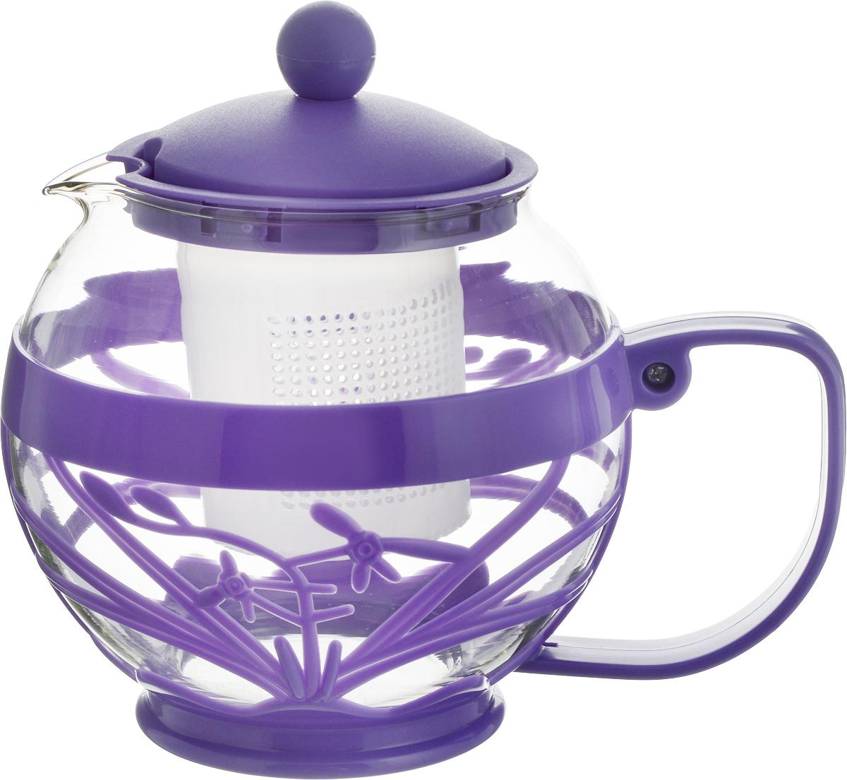 """Чайник заварочный Wellberg """"Aqual"""", с фильтром, цвет: прозрачный, фиолетовый, 800 мл 361 WB_прозрачный, фиолетовый"""