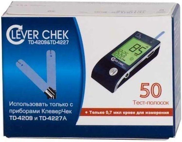 Тест-полоски универсальные CleverChek TD-4209/4227, 50 шт805Тест-полоски Клевер Чек (Clever Chek) универсальные, 50 штук в упаковке. Для глюкометров Клевер Чек TD-4209 и Клевер Чек TD-4227. Можно не бояться перепутать тест-полоски. Теперь они единые для всей линии приборов Клевер Чек. Удобный забор крови - впитывающая лунка расположена вверху тест-полоски. Для глюкометров Клевер Чек TD-4227A тест-полоски не изменились, использовать обычным способом (электронный кодирующий чип - НЕ использовать). Иструкция для глюкометров Клевер Чек TD-4209: Перед первым тестированием крови необходимо первым вставить в прибор кодирующий электронный чип, который находится в упаковке тест-полосок. Каждый раз при проведении тестирования следует проверять, соответствует ли код, который показывает прибор, тому коду, который указан на флаконе с тест-полосками. Введите тест-полоску в тестовое гнездо тем концом, на котором находятся контактные полосы, лицевой стороной вверх. Полоска должна быть введена в прибор на всю длину контактных полос, в...