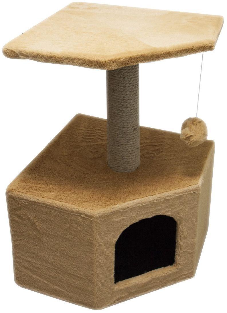 Дом для кошек Зооник, угловой, цвет: бежевый, 40 х 40 х 64 см0120710Угловой домик Зооник для кошек сделан из одноцветного меха, сверху имеет дополнительную платформу для котиков и игрушку в виде плюшевого шарика, привязанного к верхней платформе. Когтеточка сделана из пеньки. Этот угловой домик для кошки займёт совсем мало места в вашем доме. Цвет бежевый.