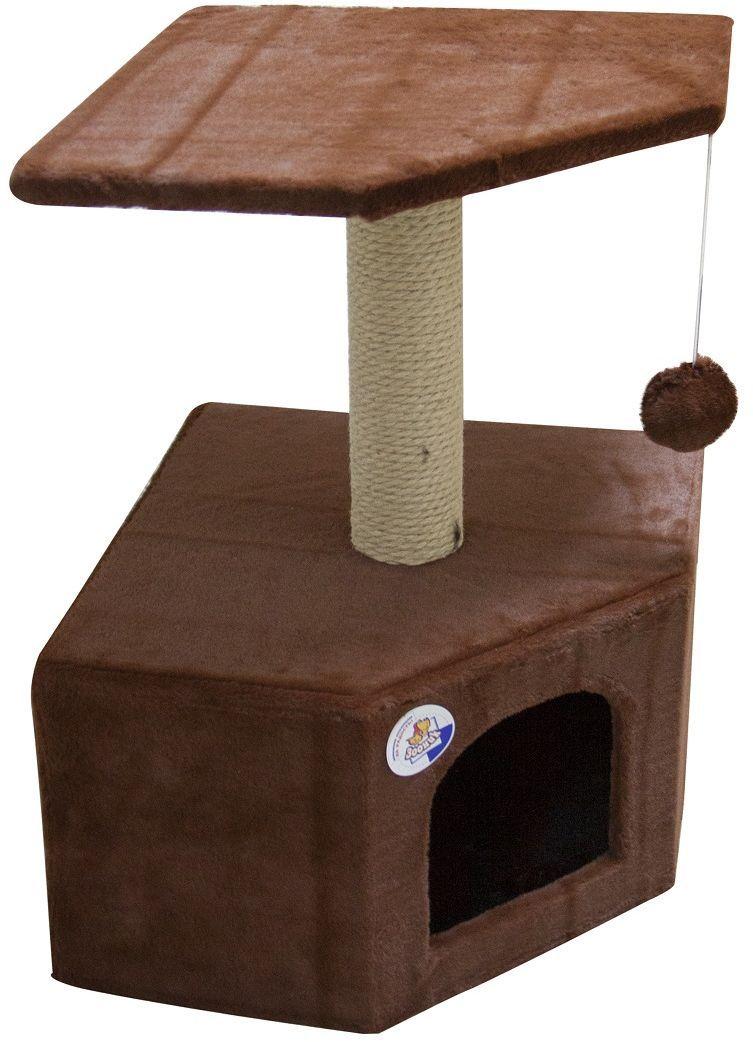 Дом для кошек Зооник, угловой, цвет: коричневый, 40 х 40 х 64 см0120710Угловой домик Зооник для кошек сделан из одноцветного меха, сверху имеет дополнительную платформу для котиков и игрушку в виде плюшевого шарика, привязанного к верхней платформе. Когтеточка сделана из пеньки. Этот угловой домик для кошки займёт совсем мало места в вашем доме. Цвет коричневый.