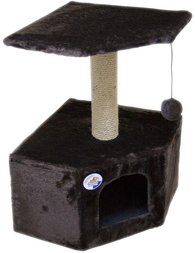 Дом для кошек Зооник, угловой, цвет: темно-коричневый, 40 х 40 х 64 см0120710Угловой домик Зооник для кошек сделан из одноцветного меха, сверху имеет дополнительную платформу для котиков и игрушку в виде плюшевого шарика, привязанного к верхней платформе. Когтеточка сделана из пеньки. Этот угловой домик для кошки займёт совсем мало места в вашем доме. Цвет коричневый.