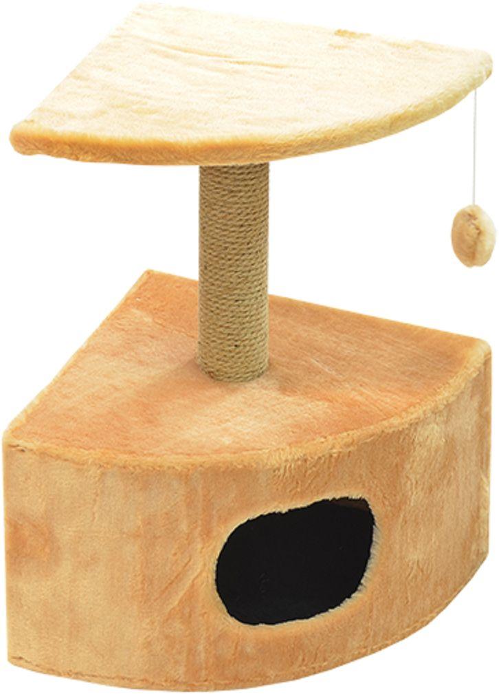 Дом для кошек Зооник, угловой, цвет: бежевый, 43 х 43 х 67 см0120710Угловой домик Зооник для кошек сделан из одноцветного меха, сверху имеет дополнительную платформу для котиков и игрушку в виде плюшевого шарика, привязанного к верхней платформе. Когтеточка сделана из пеньки. Этот угловой домик для кошки займёт совсем мало места в вашем доме. Цвет бежевый.