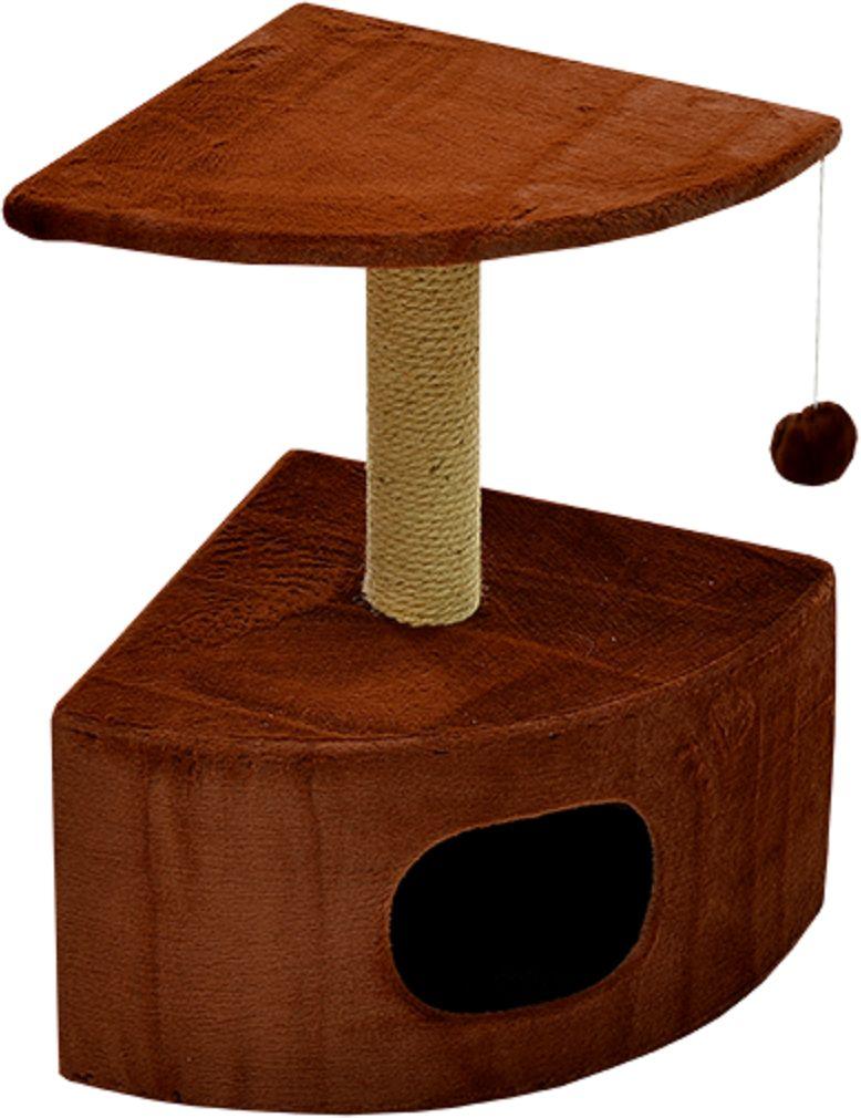 Дом для кошек Зооник, угловой, цвет: коричневый, 43 х 43 х 67 см2208-2Угловой домик Зооник для кошек сделан из одноцветного меха, сверху имеет дополнительную платформу для котиков и игрушку в виде плюшевого шарика, привязанного к верхней платформе. Когтеточка сделана из пеньки. Этот угловой домик для кошки займёт совсем мало места в вашем доме. Цвет коричневый.