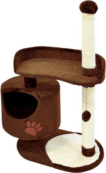 Комплекс для кошек Зооник, цвет: темно-коричневый, 82 х 43 х 121 см0120710Дом для кошек круглый Зооник изготовлен из коврового велюра. Просторный домик подойдет для котят и для взрослых кошек. Над основным местом отдыха находится дополнительная площадка, на которой ваш любимец сможет полежать свесив лапки. Также предусмотрена когтеточка из комбинированной веревки(пенька/сизаль) и подвесная игрушка. Крышу домика украшает аппликация в виде кошки. Домики ТМ Зооник отличает высокое российское качество при доступной цене. Цвет темно-коричневый.