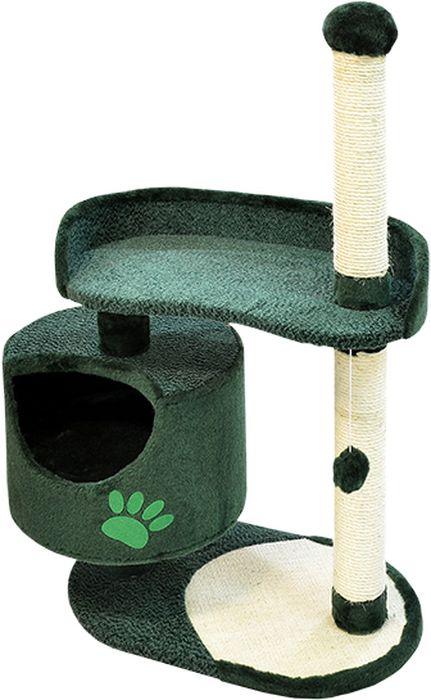 Комплекс для кошек Зооник, цвет: зеленый, 82 х 43 х 121 см22100-6Дом для кошек круглый Зооник изготовлен из коврового велюра. Просторный домик подойдет для котят и для взрослых кошек. Над основным местом отдыха находится дополнительная площадка, на которой ваш любимец сможет полежать свесив лапки. Также предусмотрена когтеточка из комбинированной веревки(пенька/сизаль) и подвесная игрушка. Крышу домика украшает аппликация в виде кошки. Домики ТМ Зооник отличает высокое российское качество при доступной цене. Цвет зеленый.
