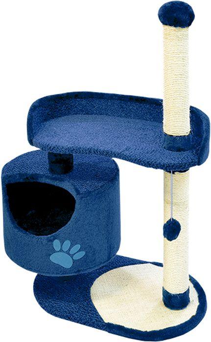 Комплекс для кошек Зооник, цвет: синий, 82 х 43 х 121 см22100-9Дом для кошек круглый Зооник изготовлен из коврового велюра. Просторный домик подойдет для котят и для взрослых кошек. Над основным местом отдыха находится дополнительная площадка, на которой ваш любимец сможет полежать свесив лапки. Также предусмотрена когтеточка из комбинированной веревки(пенька/сизаль) и подвесная игрушка. Крышу домика украшает аппликация в виде кошки. Домики ТМ Зооник отличает высокое российское качество при доступной цене. Цвет синий.