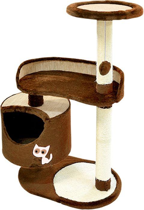 Комплекс для кошек Зооник, цвет: коричневый, 82 х 43 х 118 см22101-2Дом для кошек круглый Зооник изготовлен из коврового велюра. Просторный домик подойдет для котят и для взрослых кошек. Над основным местом отдыха находится 2-е дополнительных площадки, на которых ваш любимец сможет полежать свесив лапки. Также предусмотрена когтеточка из комбинированной веревки(пенька/сизаль) и подвесная игрушка. Крышу домика украшает аппликация в виде кошки. Домики ТМ Зооник отличает высокое российское качество при доступной цене. Цвет коричневый.