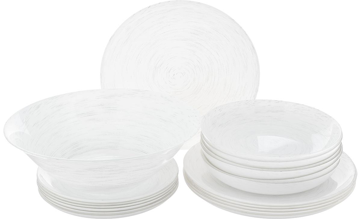 Набор столовый Luminarc Stonemania White, 19 предметов115610Столовый набор Luminarc Stonemania White состоит из 6 суповых тарелок, 6 обеденных тарелок, 6 десертных тарелок и глубокого салатника. Изделия, выполненные из высококачественного ударопрочного стекла, имеют классическую круглую форму. Посуда отличается прочностью, гигиеничностью и долгим сроком службы, она устойчива к появлению царапин и резким перепадам температур. Такой набор прекрасно подойдет как для повседневного использования, так и для праздников или особенных случаев. Изделия можно мыть в посудомоечной машине и использовать в микроволновой печи. Диаметр суповой тарелки (по верхнему краю): 20,3 см. Высота суповой тарелки: 3,2 см. Диаметр обеденной тарелки (по верхнему краю): 25 см. Высота обеденной тарелки: 1,8 см. Диаметр десертной тарелки (по верхнему краю): 20,3 см. Высота десертной тарелки: 1,7 см. Диаметр салатника (по верхнему краю): 27 см. Высота стенки салатника: 8,3 см.