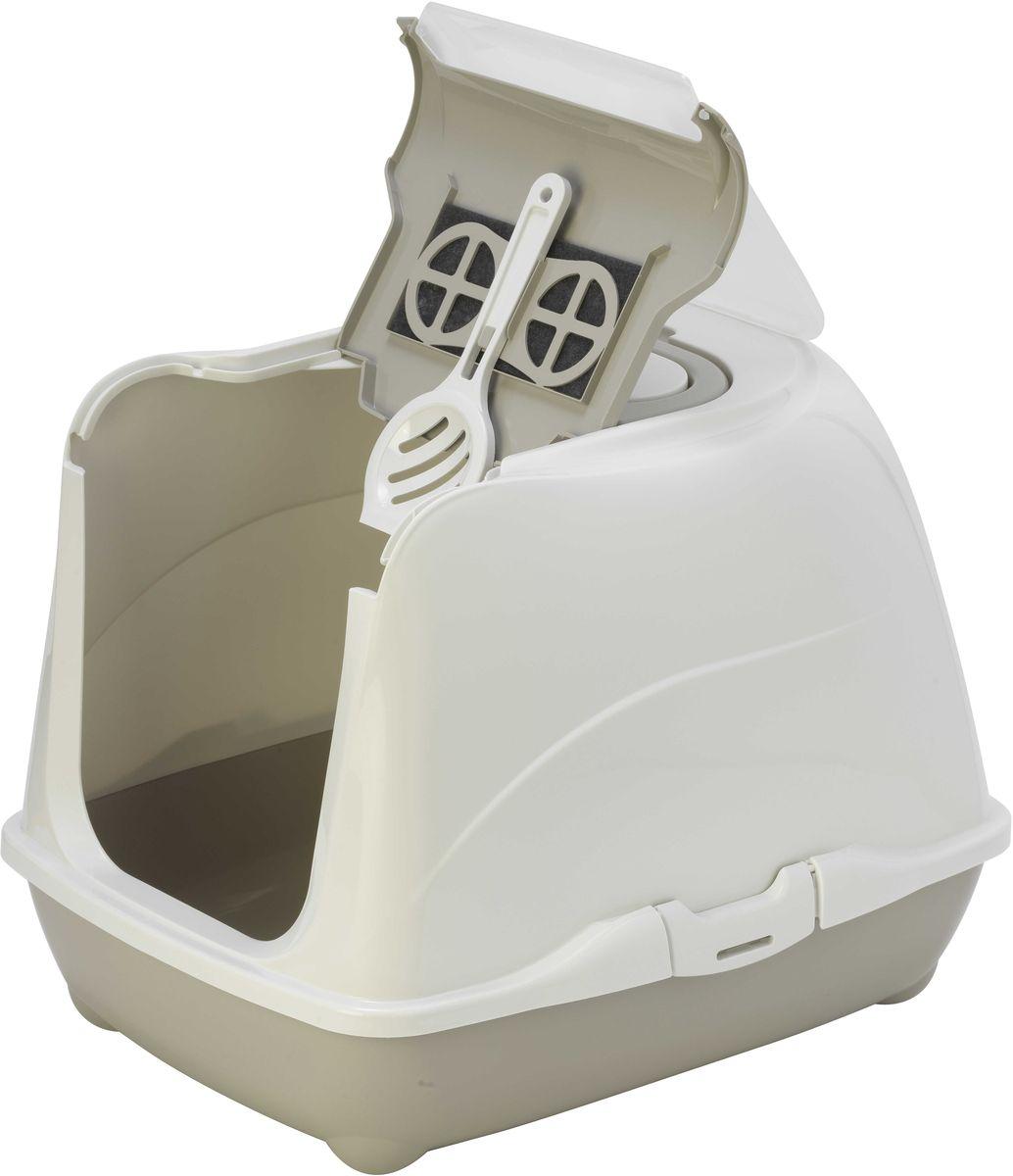 Туалет закрытый для кошек Moderna Flip Cat, цвет: светло-серый, 39 х 50 х 37 см14C230330