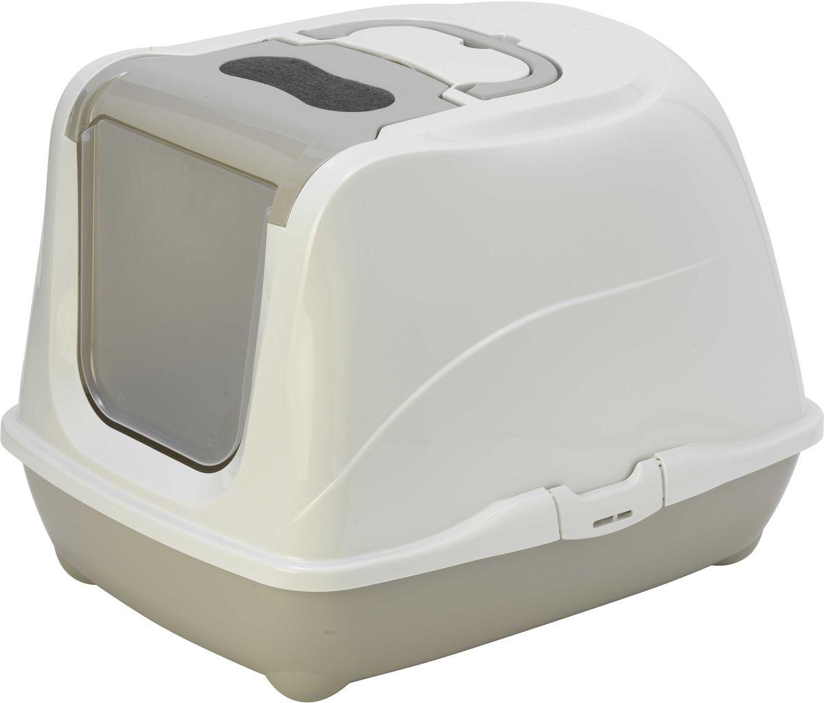 Туалет закрытый Moderna Flip Cat, для больших кошек, цвет: светло-серый, 58 х 45 х 42 см14C240330