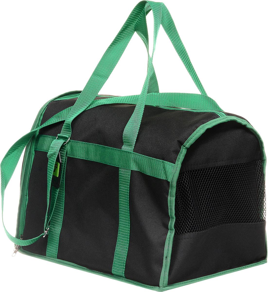 Сумка-переноска для животных Каскад Спорт, цвет: черный, зеленый, 40 х 28 х 29 смSC-FD421005Текстильная сумка-переноска Каскад Спорт для собакмелких пород и кошек имеет твердое основание, которое непозволит животному провисать. С одной стороны переноскиимеется специальная сетчатая вставка, чтобы ваш любимец могдышать. С другой стороны сумка закрывается на застежку-молнию. В верхней части изделия есть застежка-молния, открывающая доступ в отделение для необходимых вам вещей.Для удобной переноски у сумки имеются две ручки ирегулируемая лямка.При необходимости сумку можно сложить. Сумка-переноска Каскад Спорт понравится вашимдомашним любимцам.