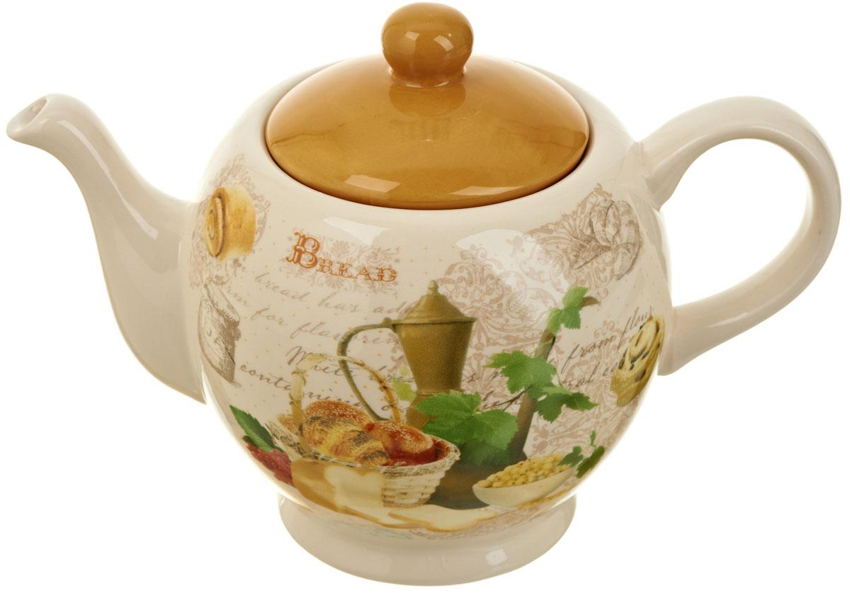 Чайник заварочный Polystar Хлеб, 950 млL1581890Заварочный чайник Хлеб изготовлен из высококачественной керамики. Изделие прекрасно подходит для заваривания вкусного и ароматного чая, а также травяных настоев. Отверстия в основании носика препятствуют попаданию чаинок в чашку. Красочный дизайн сделает чайник настоящим украшением стола.
