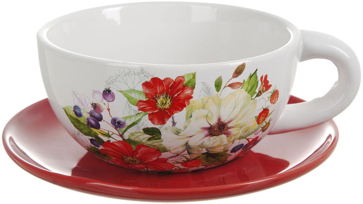Чашка суповая Polystar Summer, 500 млL2430903Чашка с блюдцем Polystar Summer изготовленная из высококачественной керамики с красочным цветочным рисунком, подойдет для красивой сервировки первых блюд.