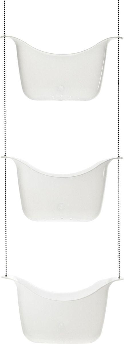 Органайзер для душа Umbra Bask, цвет: белый, никель, 92 х 28 х 13 см022360-670Простая и удобная идея организации всех многочисленных баночек, колбочек и бутылочек с шампунями, гелями для душа, кремами и прочими косметическими принадлежностями. Три корзины, соединенные цепочкой из нержавеющей стали, плюс два специальных крючка, которые позволяют повесить конструкцию на крепление для душа или штангу для шторки в ванной.