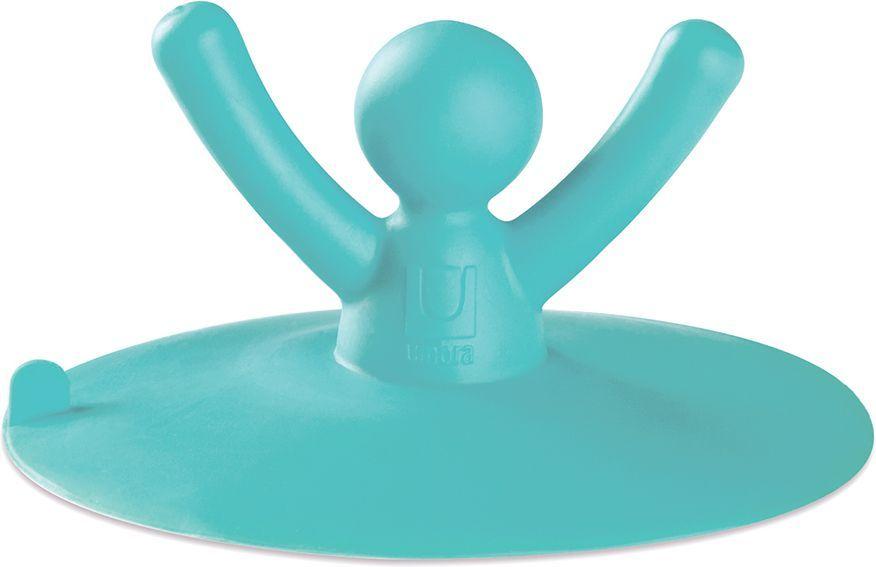 Пробка для ванны и раковины Umbra Buddy, цвет: морская волна, 4 х 9,5 х 9,5 см023009-276Пробка для ванной, работающая как присоска. Все просто: возьмите Buddy и просто прилепите сверху на сливное отверстие раковины или ванны. Пробка сделана из гибкого пластика, и, используя давление воды, плотно прилегает к краям. Благодаря диаметру 9,5 см подходит практически для всех сливных отверстий. Ну а главное, когда вы захотите её вытащить, просто потяните Buddy за руки.